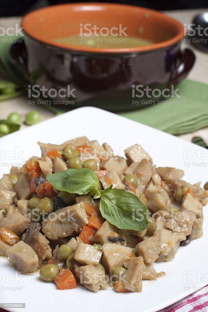 Seitan soup stock photo