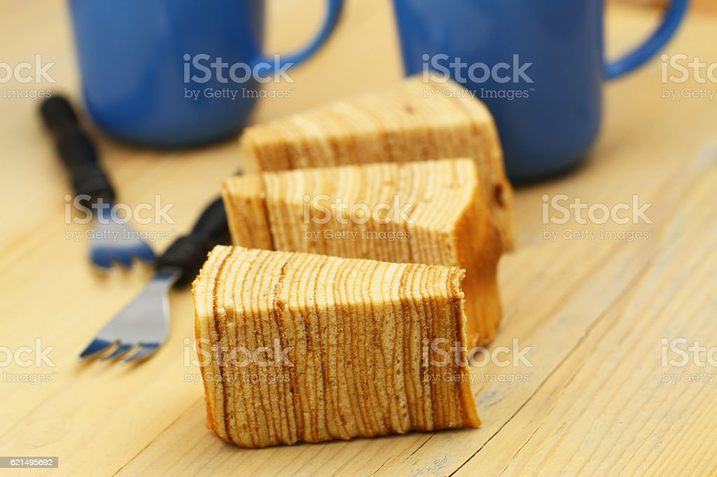 Sekacz, slices of traditional Polish spit cake Lizenzfreies stock-foto