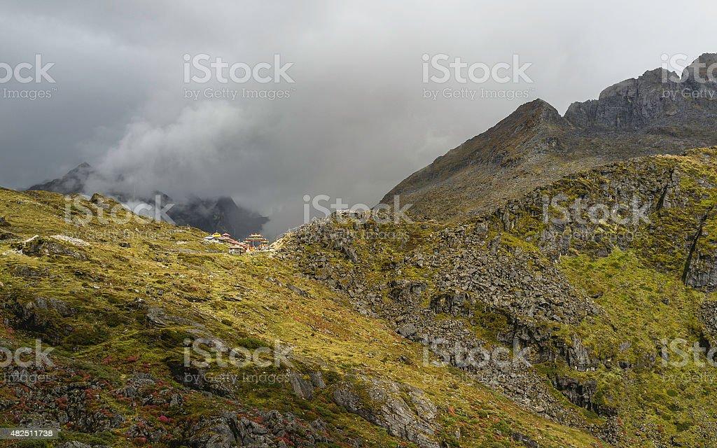 Sela Pass on a stormy morning, Arunachal Pradesh, India. stock photo
