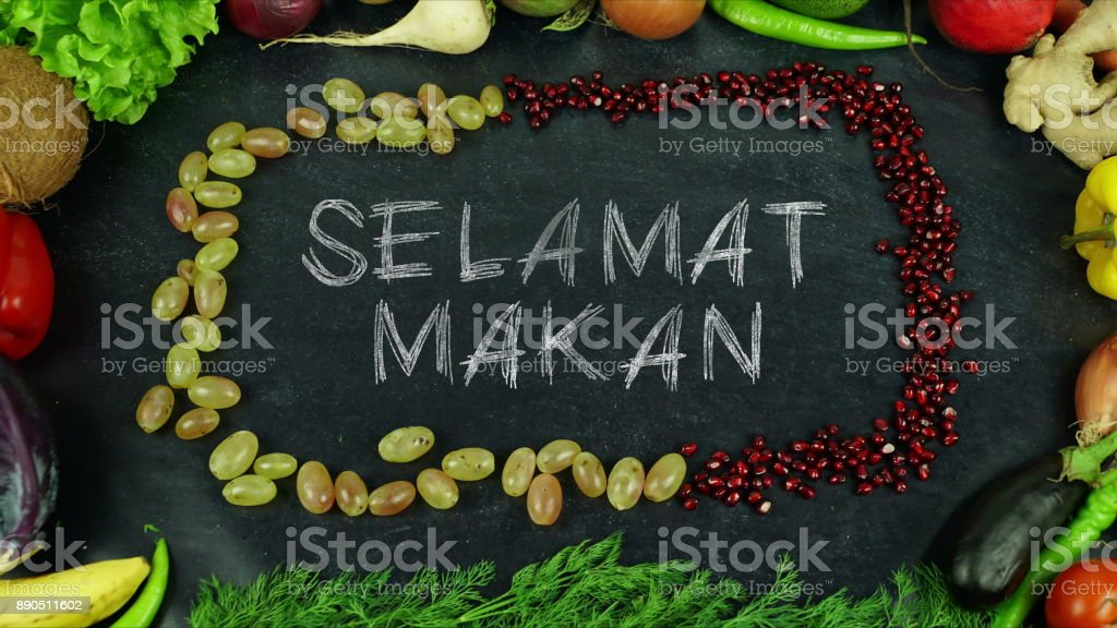 Selamat makan Indonesian fruit stop motion, in English Bon appetit stock photo