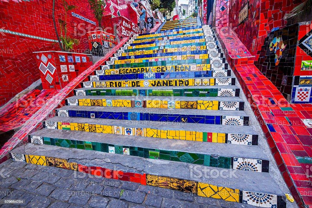 Selaron Steps in Rio de Janeiro, Brazil stock photo