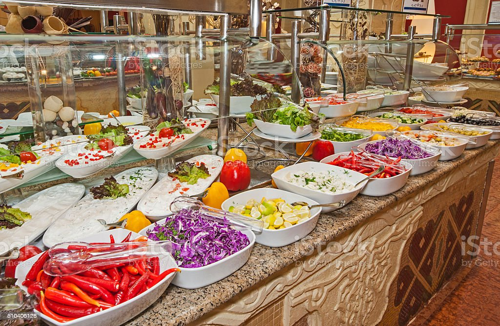 Selction of salads at a restaurant buffet stock photo