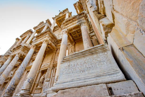 Selcuk, Izmir - Turkey. December 25, 2017. Celsus Library. The Ancient City of Ephesus in Selcuk, Izmir - Turkey Selcuk, Izmir - Turkey. December 25, 2017. Celsus Library. The Ancient City of Ephesus in Selcuk, Izmir - Turkey celsus library stock pictures, royalty-free photos & images