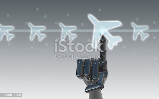 istock Select a flight by touch screen airplane button 1096611998