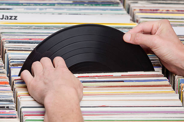 Select a record stock photo