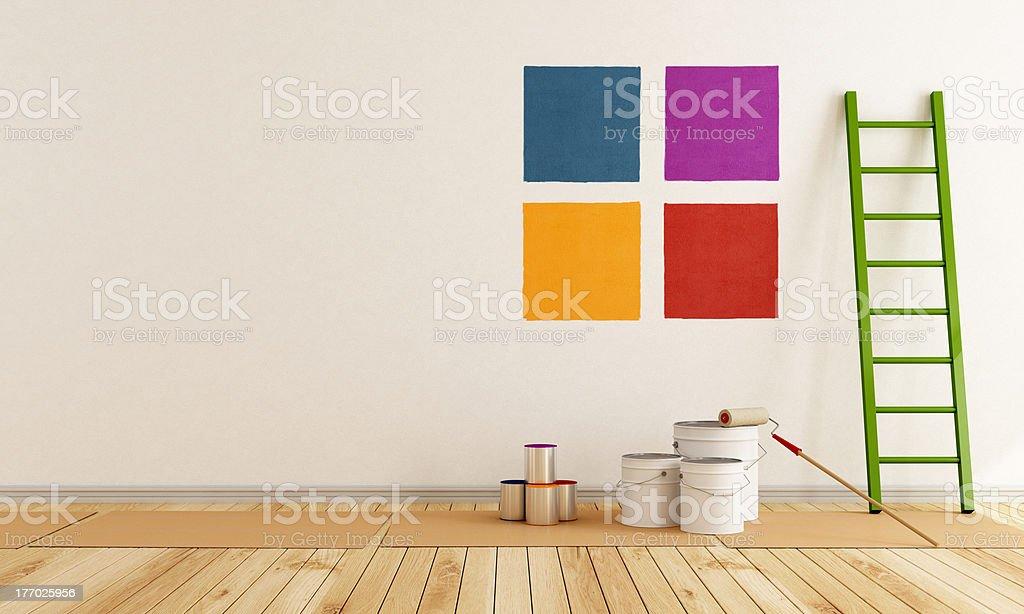 Selecionar mostruário de cores de pintura na parede - foto de acervo