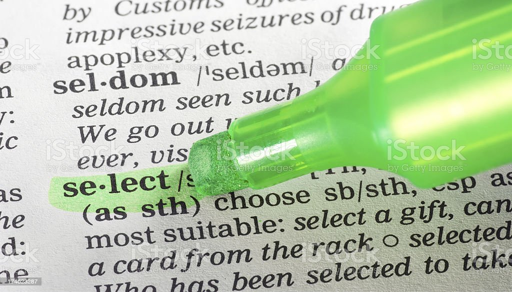 select definition highligted in dictionary royalty-free stock photo