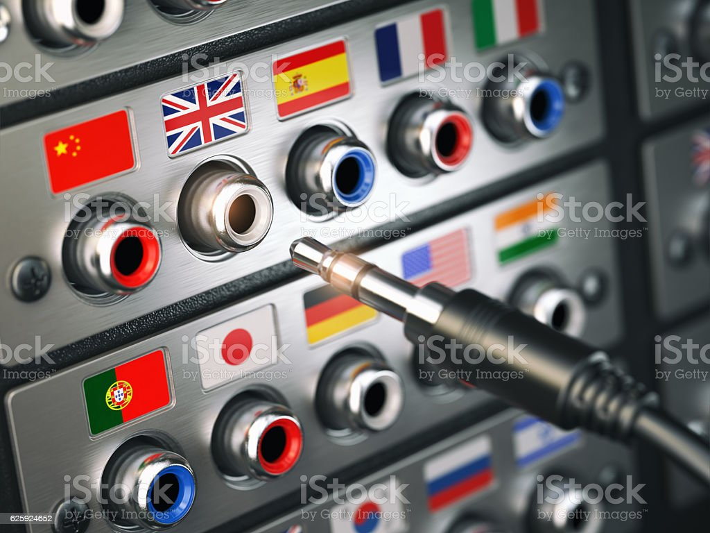 Select language. Learning, translate languages or audio guide co stock photo