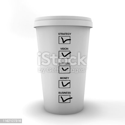 Marked coffee (business) options on back of paper coffee cup. Mark your sections. Paper coffee cup on white background.