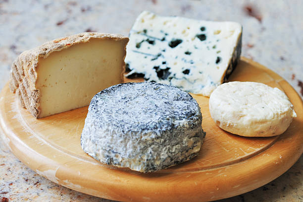 Selected French goat and sheep cheeses stock photo