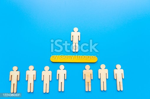 898212112 istock photo Selected wooden figure on blue background. The concept of finding an employee in business. HR manager search employee. Group leader. 1224380331