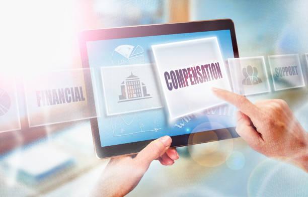 selecting a compensation business concept - soddisfazione foto e immagini stock