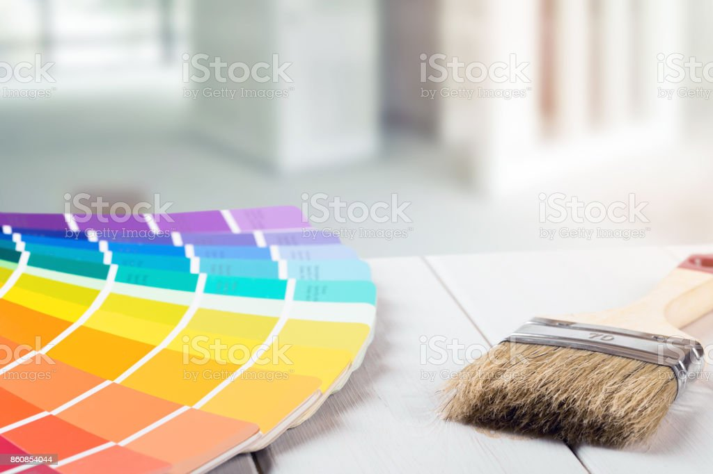 selecting paint color for home interior design stock photo