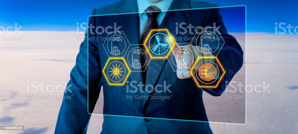 Selecting Renewable Energy High Above The Clouds stock photo