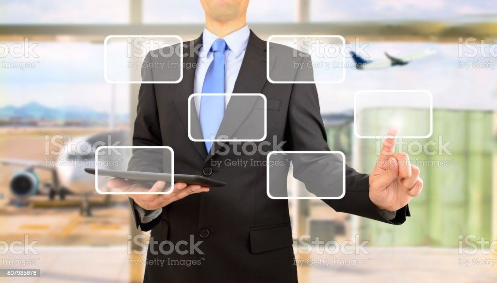 Selecting with new technology stock photo