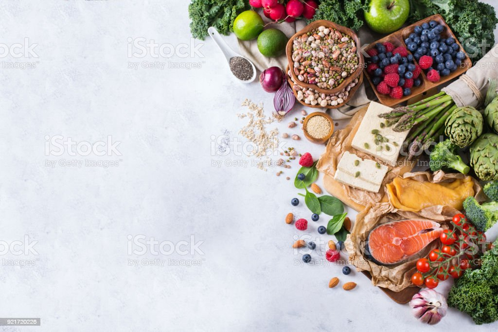Selection assortment of healthy balanced food for heart, diet royalty-free stock photo