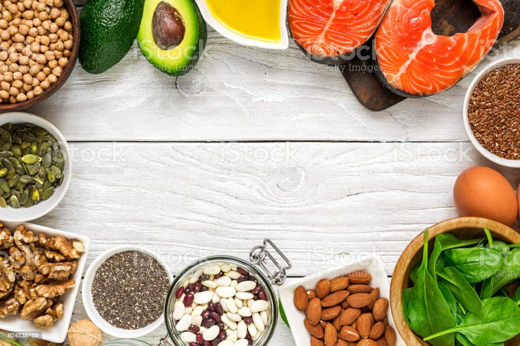 selection food sources of omega 3 and healthy fats. healthy diet eating concept stock photo