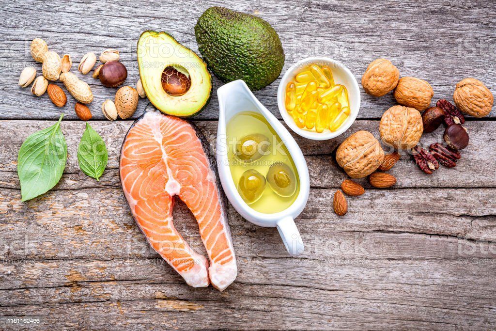 Selection food sources of omega 3 and unsaturated fats. Super foods...
