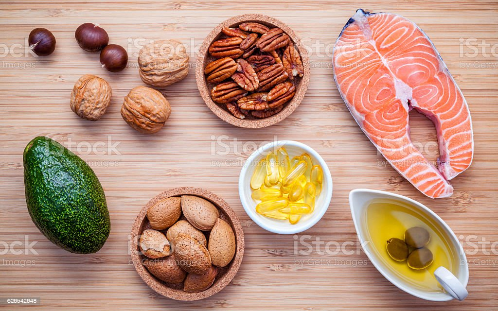 Selection food sources of omega 3 and unsaturated fats. Super food...