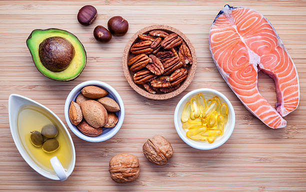 Selection food sources of omega 3 and unsaturated fats. Super – Foto