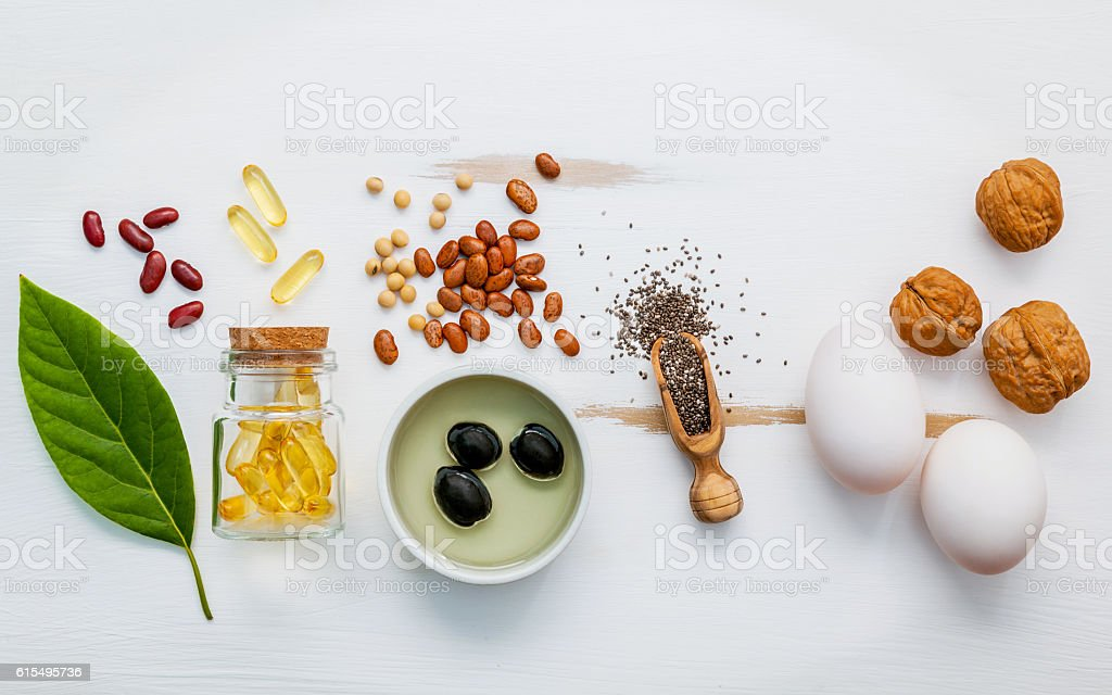 Selection food sources of omega 3 . stock photo