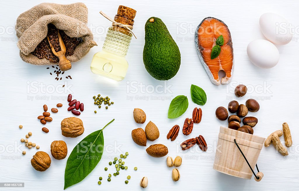 Selection food sources of omega 3 . Superfood high unsaturated stock photo