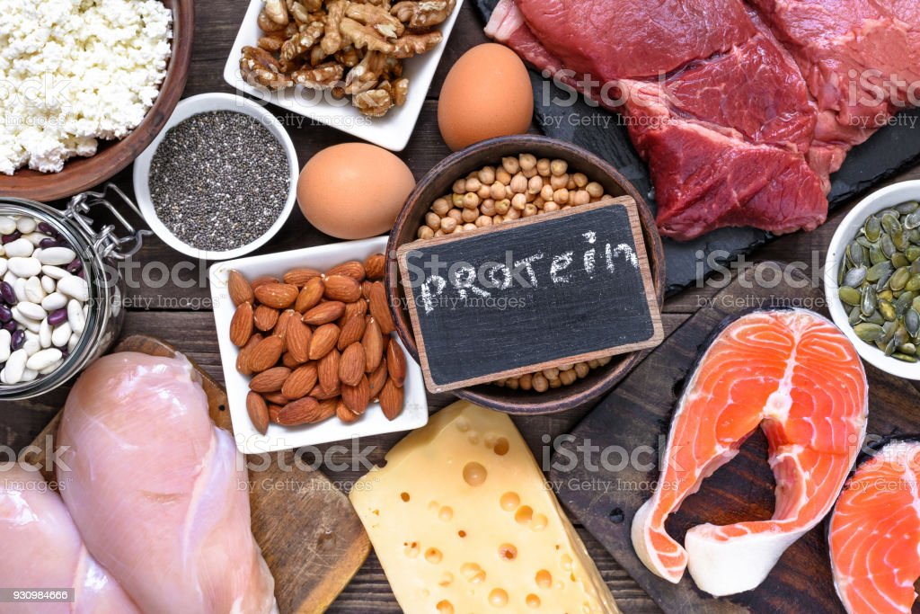 selection food sources of protein. healthy diet eating concep stock photo