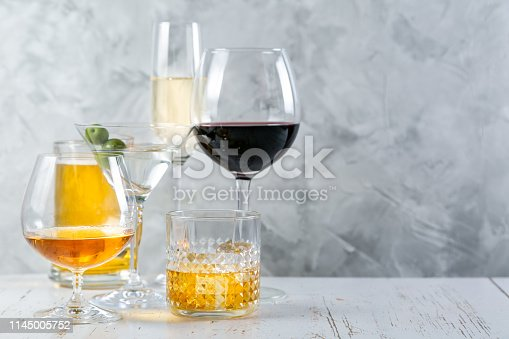 istock Selection of alcoholic drinks - beer, wine, martini, champagne, cogniac, whiskey 1145005752