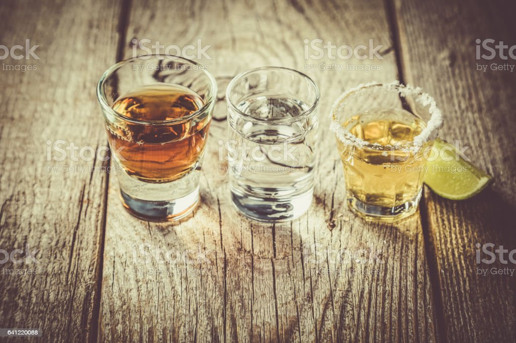 Selection of alcoholic drinks stock photo
