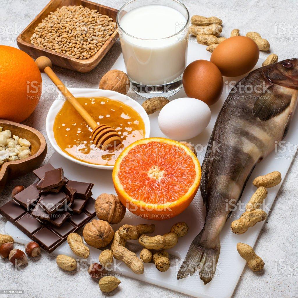 Auswahl an allergischen Essen. Allergie-Food-Konzept. – Foto