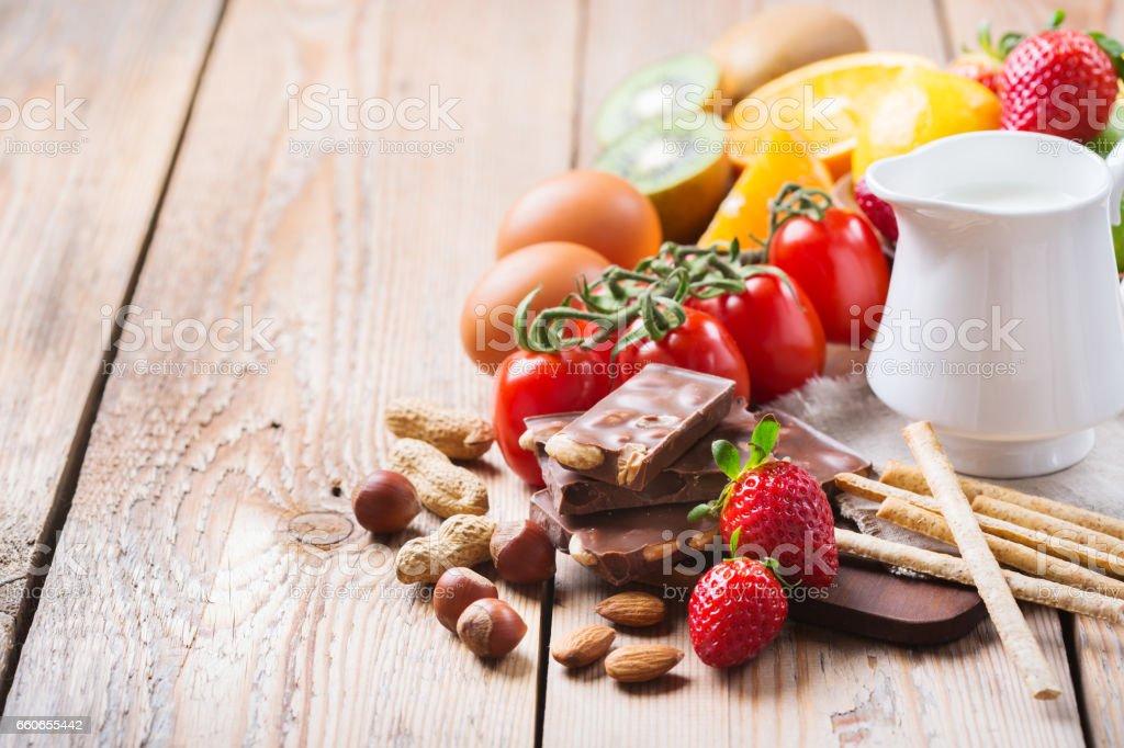 アレルギー食品、健康的な生活の概念の選択 ストックフォト