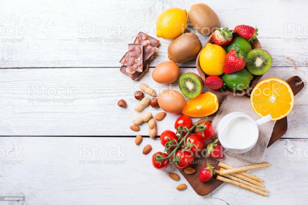 Auswahl an Allergie Essen, gesund Lebenskonzept – Foto