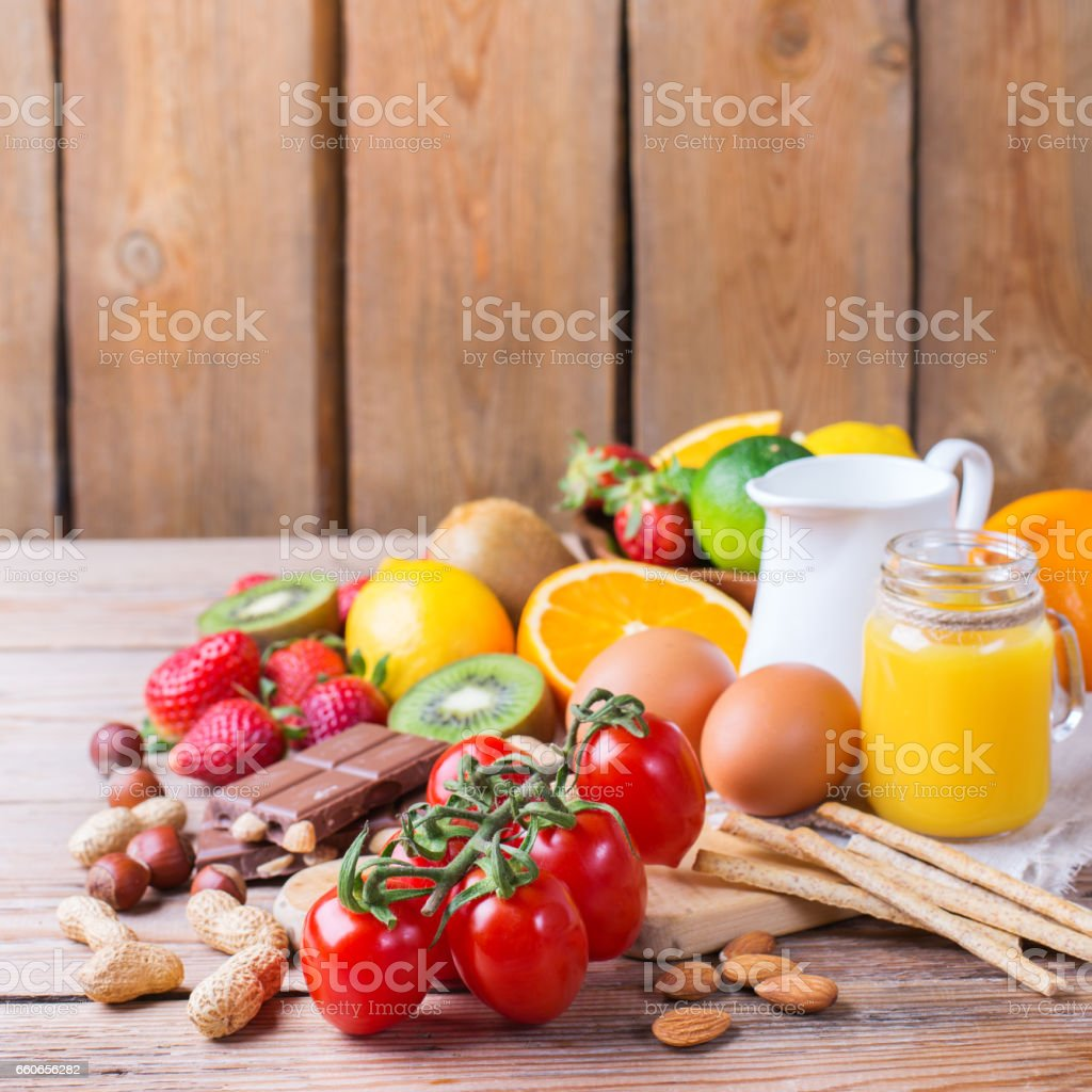 Selection of allergy food, healthy life concept stock photo
