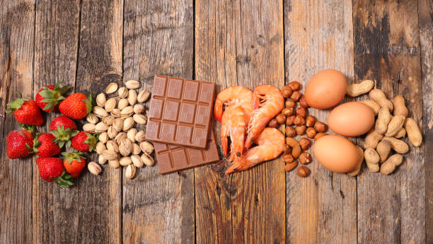 selection of allergy food - food allergies stock photos and pictures