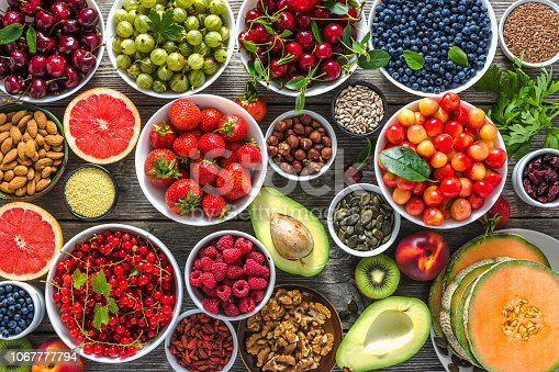 904734850istockphoto Selection of antioxidant food. Healthy superfood, detoxification with fruits and various berries. Fresh nourishment on table. 1067777794