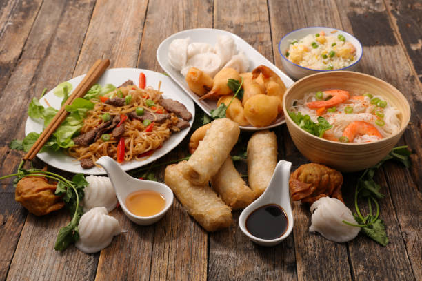 selection of asia food - chinese food stock photos and pictures