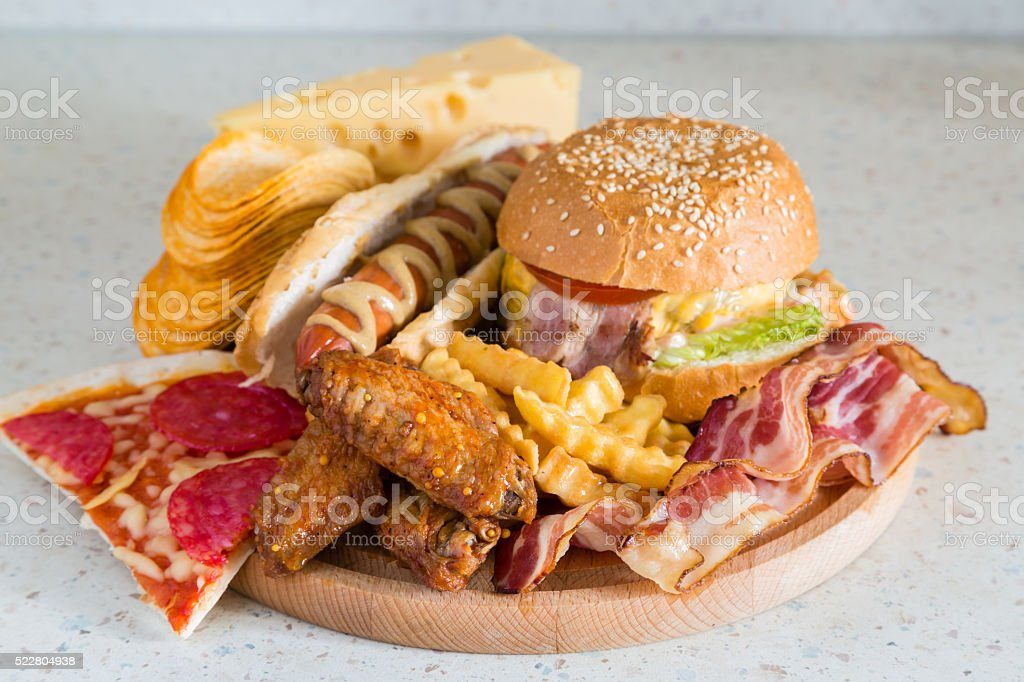 Selection of bad fat sources stock photo