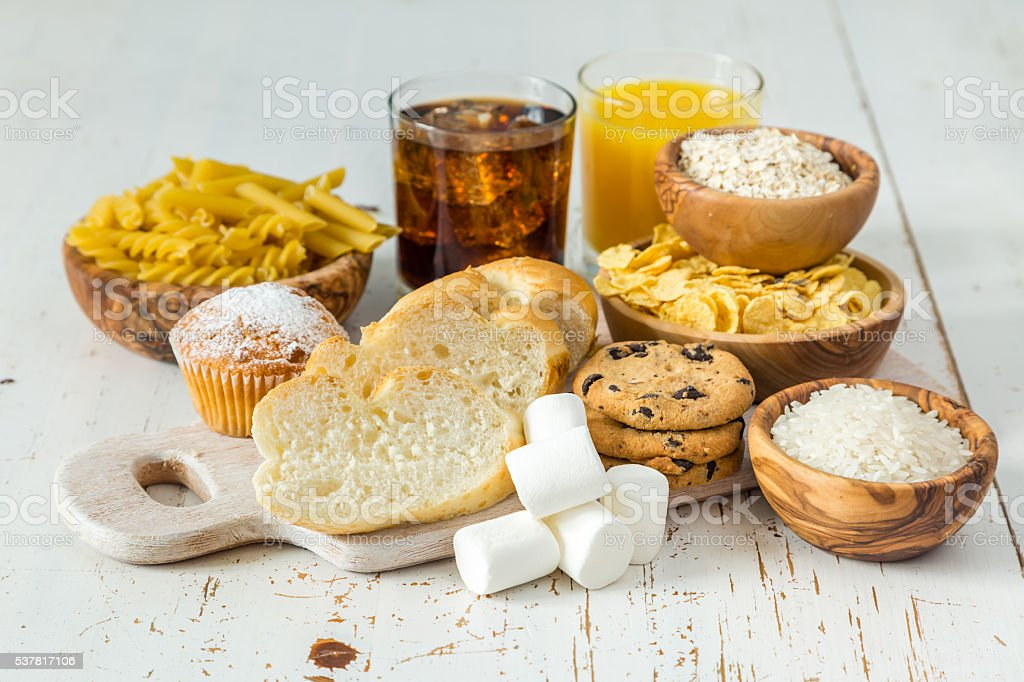 Selection of bad sources carbohydrates stock photo