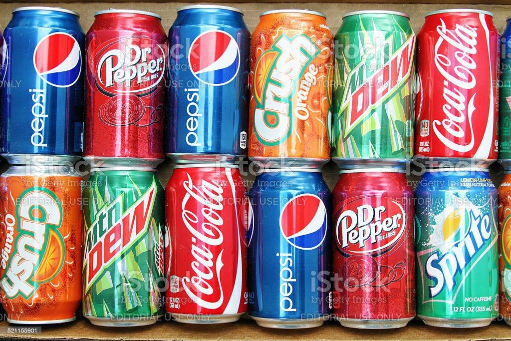 Selection of brand name sodas stock photo