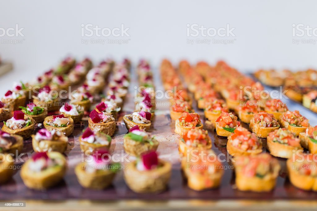 Selection of canapes stock photo