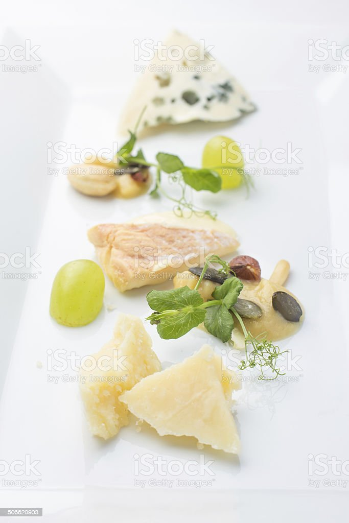 Selection of cheese with garnish stock photo