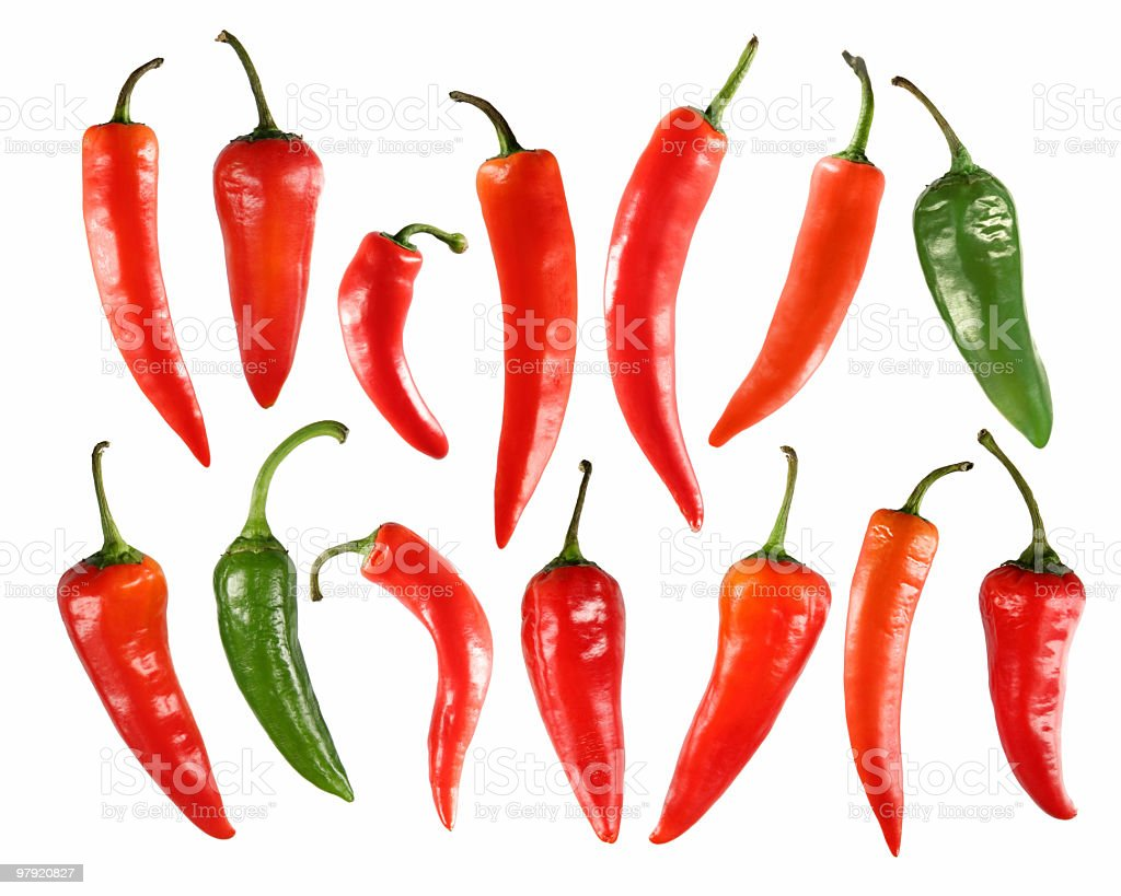 selection of chili peppers royalty-free stock photo