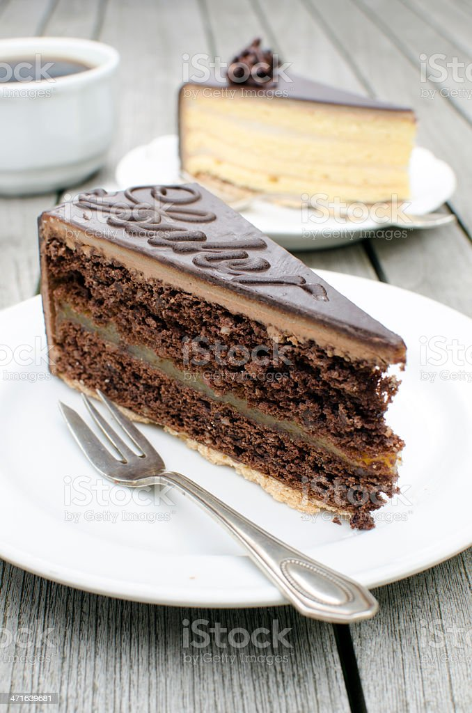 Selection of chocolate cakes stock photo