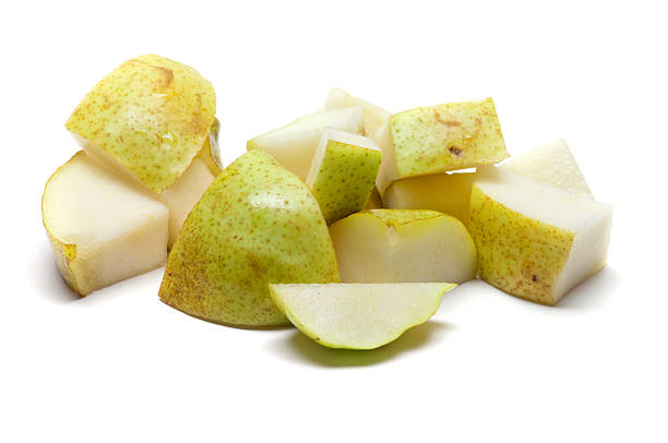 A selection of chopped up bits of pear stock photo