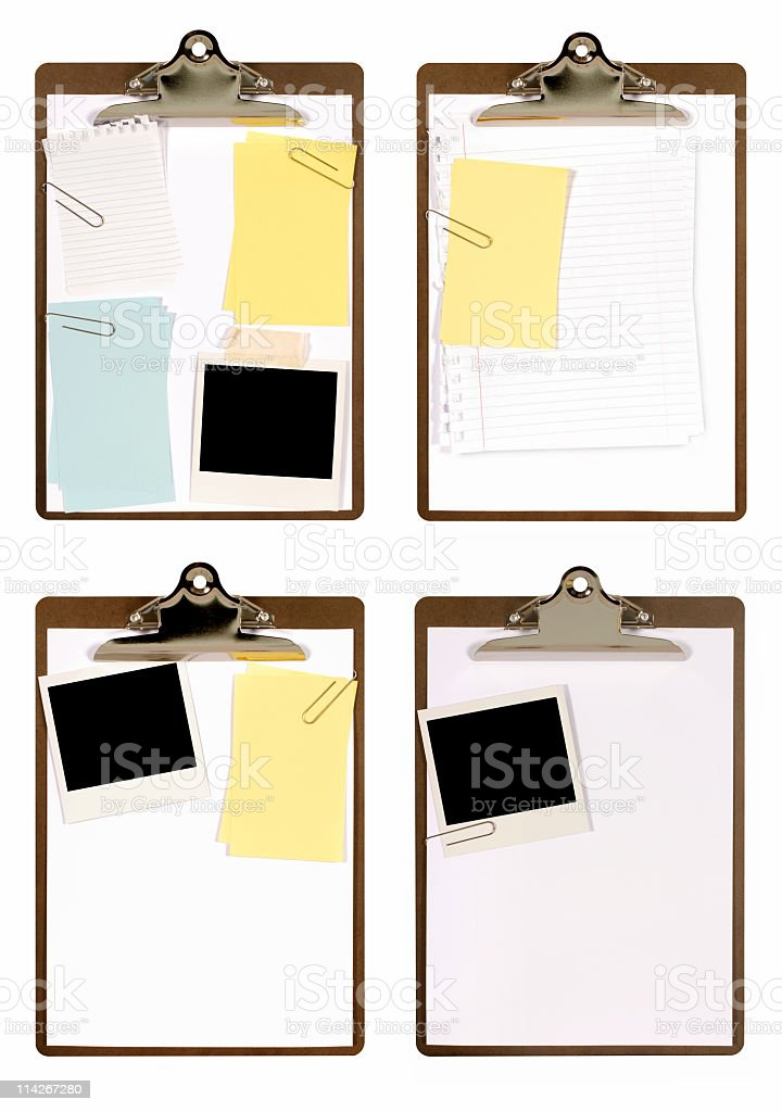 Selection of clipboards with attachments royalty-free stock photo