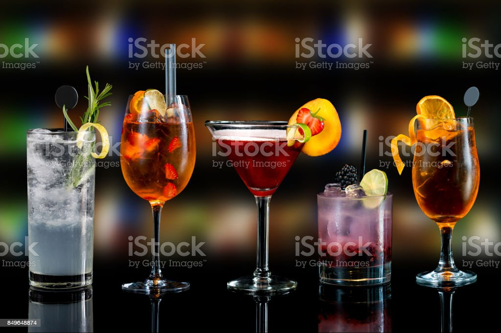 selection of cocktails stock photo