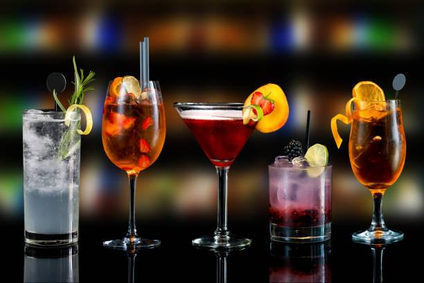 urval av cocktails - halmslöjd bildbanksfoton och bilder