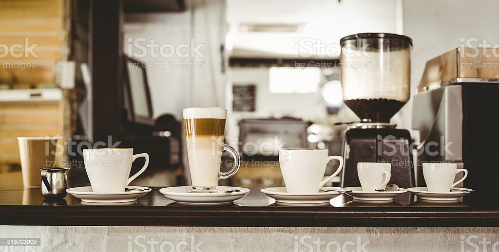 Selection of coffee on the counter stock photo