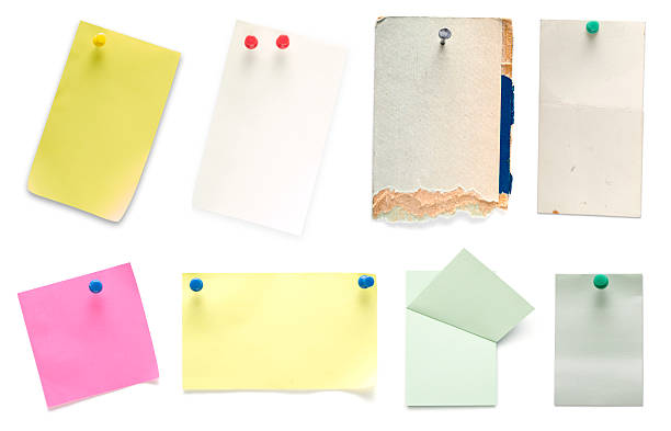 Selection of colored pieces of paper stock photo