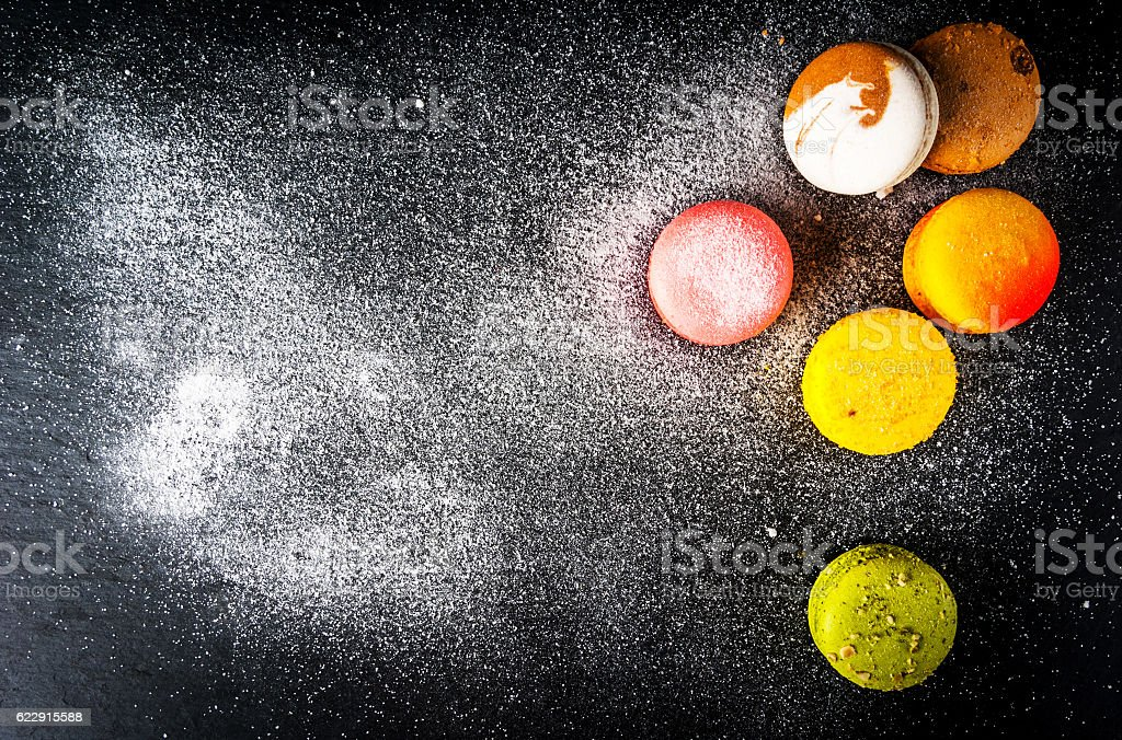 Selection of colorful cakes macaron stock photo